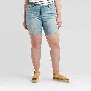 Universal Thread Mid-Rise Bermuda Jean Shorts Blue